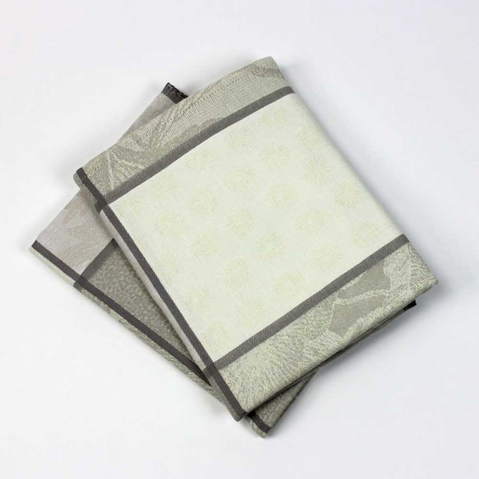 Lot de 2 serviettes de table VALBONNE jacquard Naturel