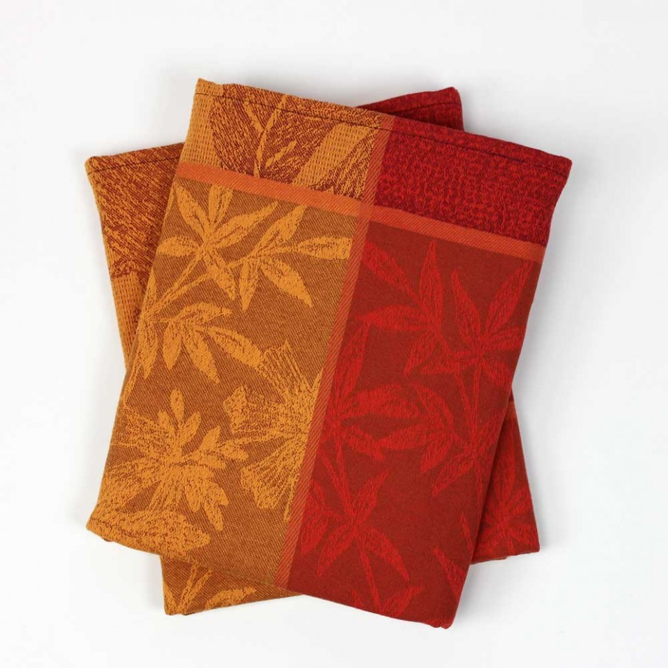 Lot de 2 serviettes de table VALBONNE jacquard Rouge