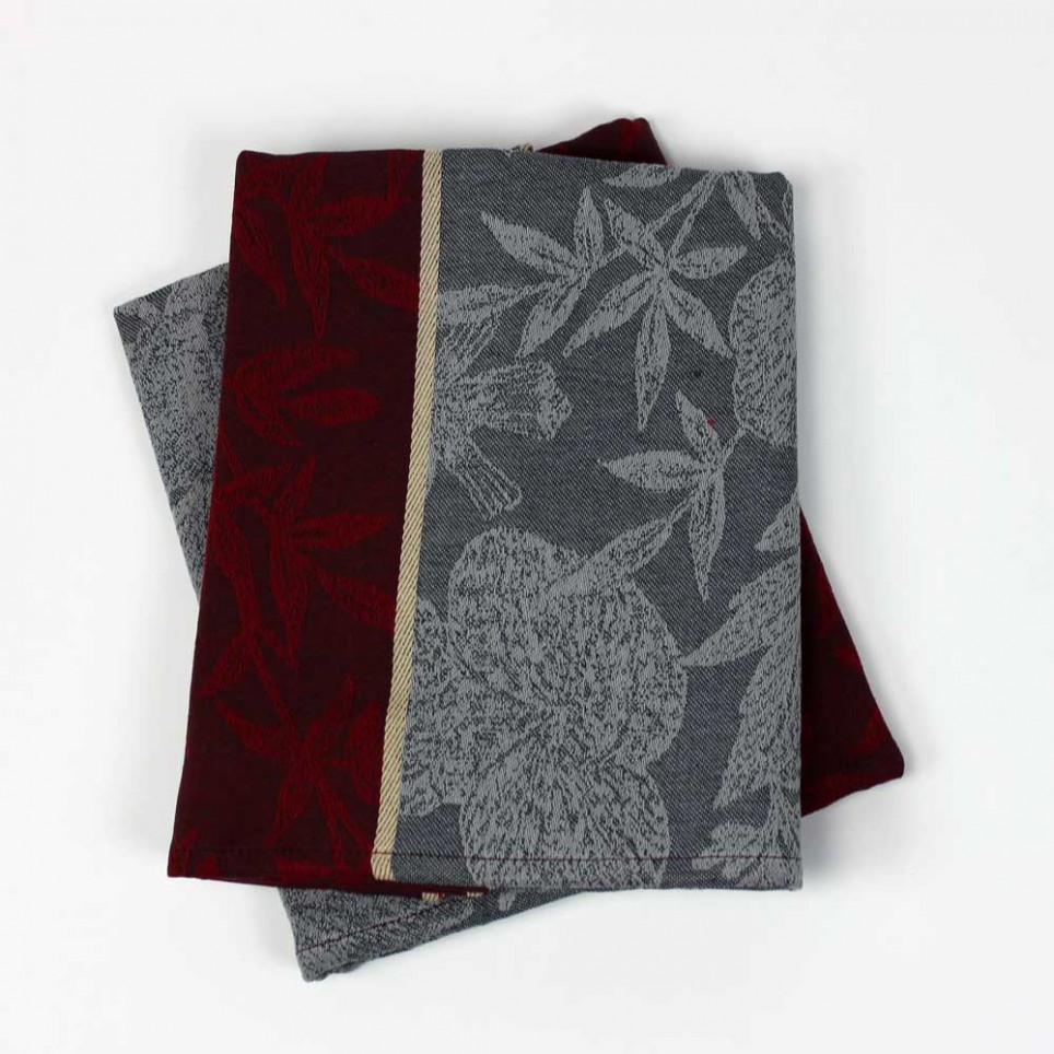 Lot de 2 serviettes de table ABLEIGES Gris/Rouge jacquard