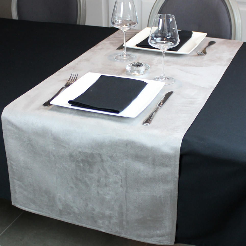 chemin de table segur gris anti taches