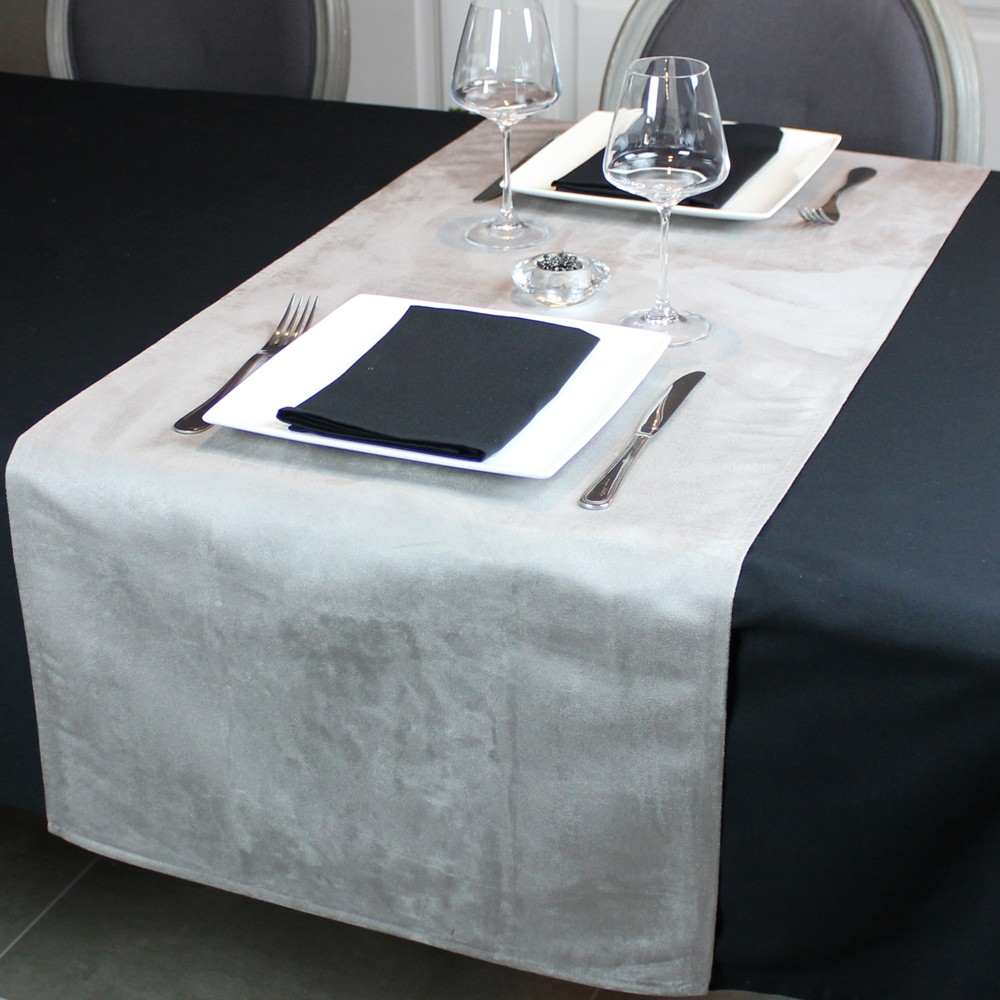Chemin de table anti taches segur gris linge de table maison Linge de table luxe