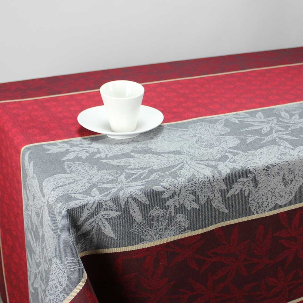 nappe jacquard rectangulaire ableiges gris rouge linge de table maison. Black Bedroom Furniture Sets. Home Design Ideas