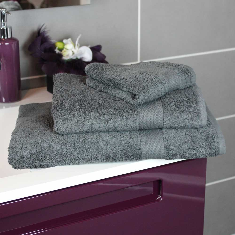 lot de 2 draps de bain vend me gris ardoise linge de bain. Black Bedroom Furniture Sets. Home Design Ideas